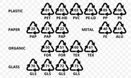 Återanvända kodpilsymboler för plast- polyesterfiber och, läskflaskor Vektorn återanvänder symboler på genomskinlig bakgrund vektor illustrationer