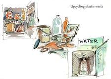 Återanvända plast- behållare som upp-cyklar plast-avfalls vattenfärg royaltyfri fotografi
