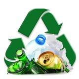 Återanvändbar avskräde som består av glass plast- metall och papper Royaltyfri Foto