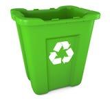 återanvänder grön plast- för facket Royaltyfria Bilder