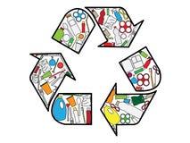 Återanvändning av logouppbyggnad från plast- produkter stock illustrationer