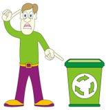 återanvändning för grön man för korg Arkivbild