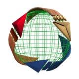 Återanvänt symbol med dengjorda materialpilen som kretsar en grön jord Royaltyfri Fotografi
