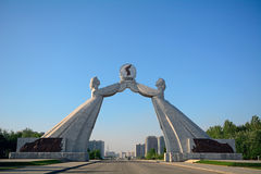 Återföreningmonument, Pyongyang, Nordkorea Arkivfoto