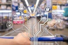 Återförsäljnings- för E-kommers för begreppsmarknadsföringskanaler automation shopping på suddig supermarketbakgrund stock illustrationer