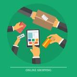Återförsäljnings- kommers- och marknadsföringsbeståndsdelar stock illustrationer