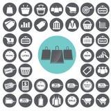 Återförsäljnings- kommers- och marknadsföringssymbolsuppsättning royaltyfri illustrationer