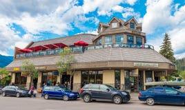 Återförsäljnings- shoppa restaurangen Jasper National Park Fotografering för Bildbyråer
