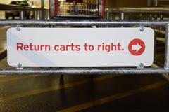 Återgånga vagnar till det högra tecknet med shoppingvagnen Arkivbilder