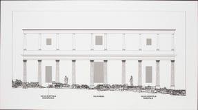 Återgivning av den yttre fasaden av etappframdelen på den romaren fotografering för bildbyråer