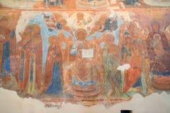 Återgivning av Jesus Christ på den forntida freskomålningen av den Znamensky domkyrkan arkivbilder