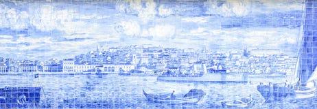 Återgivning av Lissabon med tegelplattasärdragen fotografering för bildbyråer
