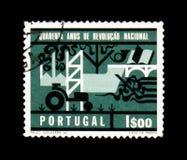 Återgivning av utvecklingen av Portugal, 40th årsdag av th royaltyfri bild