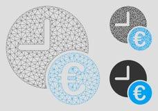 Återkommande betalningvektor Mesh Wire Frame Model för euro och mosaisk symbol för triangel royaltyfri illustrationer