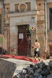 Återställande av en historisk byggnad Arkivbilder