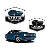 Återställande och vektor för logo för klassisk bil för garage beställnings- vektor illustrationer