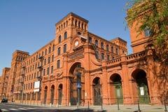 Återställd gammal fabrik i stad av Lodz, Polen Arkivbilder