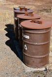 Återvinning barrels för cans, plast-, papper och exponeringsglas Royaltyfri Foto