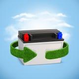 Återvinningbatterier och ackumulatorer Begrepp med gröna pilar från gräset Många mer ekologibilder i min portfölj royaltyfri bild