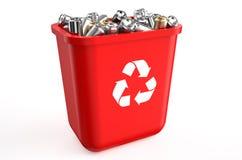 Återvinningbehållare med metalliska cans royaltyfri illustrationer