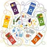 Återvinninglabyrint för ungar med en lösning stock illustrationer