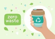 Återvinningsbar kaffekopp - illustration med bokstäver Hållbar livsstil, nollavfalls, ekologiskt begrepp royaltyfri illustrationer