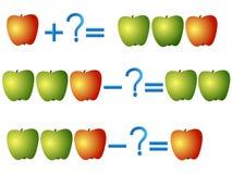 Åtgärda förhållandet av tillägget och subtraktion, exempel med äpplen Arkivfoton
