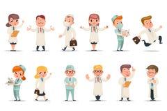 Åtgärdar olika positionssinnesrörelser för läkare doktorstecken som symboler ställer in den retro illustrationen för tecknad film stock illustrationer