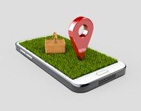 Åtlöje för färg för stift för GPS navigatör röd upp med gräs- och picknickkorgen på grå bakgrund illustration 3d Royaltyfria Bilder