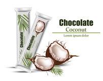 Åtlöje för kokosnötchokladpacke upp Vektororientering av matidentiteten som brännmärker, förpackande design Sund organisk produkt Arkivfoto