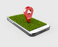 Åtlöje för röd färg för GPS navigatörstift upp med gräs på grå bakgrund illustration 3d Royaltyfria Foton