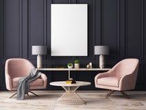 Åtlöje upp affischen i en pastellfärgad inre med fåtöljer och en tabell framförande 3d stock illustrationer