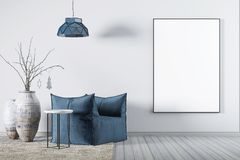Åtlöje upp affischen i fåtölj för blått för vardagsrumwhittyg, en kaffetabell och stor vas stock illustrationer