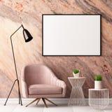 Åtlöje upp affischen i inre med en fåtölj och en tabell på bakgrunden av en marmorvägg, 3d framför, illustrationen 3d royaltyfri illustrationer