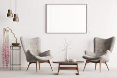 Åtlöje upp affischen i pastellfärgad inre klassisk stil med mjuka fåtöljer, växten och lampor stock illustrationer