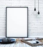 Åtlöje upp affischram i inre bakgrund för hipsteren med ljusbokstäver, scandinavian stil, 3D framför Arkivbild
