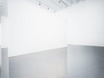 Åtlöje upp av den tomma vita galleriinre 3d framför royaltyfri foto
