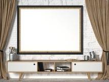 Åtlöje upp bildram med bruna gardiner 3d Arkivfoto