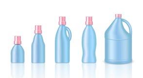 Åtlöje upp pastellfärgade rosa färger och blått färgar den förpackande produkten för det realistiska plast- gal.et för den kemisk stock illustrationer