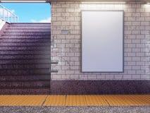 Åtlöje upp skärm för annonser för affischmassmediamall i rulltrappa för gångtunnelstation 3d som fäster den lätta redigerande map stock illustrationer