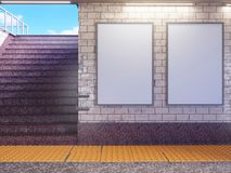 Åtlöje upp skärm för annonser för affischmassmediamall i rulltrappa för gångtunnelstation 3d som fäster den lätta redigerande map royaltyfri fotografi