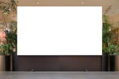 Åtlöje upp Tom affischtavla som annonserar ställningen i modern shoppinggalleria fotografering för bildbyråer