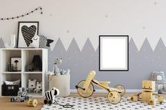 Åtlöje upp väggen i inre för barnrum Inre scandinavian stil 3D tolkning, illustration 3D royaltyfri illustrationer