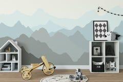 Åtlöje upp väggen i inre för barnrum Inre scandinavian stil 3D tolkning, illustration 3D