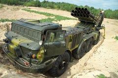 Åtskillig raketgevär för BM-27 Uragan (9K57) Royaltyfri Bild