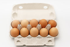 Åtskilliga ägg i kartong på en vit bakgrund Arkivfoto