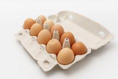 Åtskilliga ägg i kartong på en vit bakgrund Arkivbild
