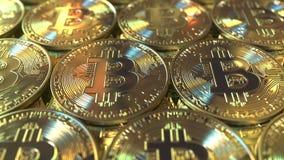 Åtskilliga Bitcoin mynt, tolkning 3D Arkivfoto