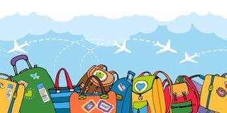 Åtskilliga färgrika resväskapåsar och ryggsäckar royaltyfri illustrationer