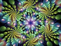Åtskilliga färgrika spiral flammar Fractal royaltyfri illustrationer